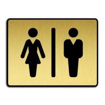 """Dörrskylt för toalett - """"Dam/herr"""" guld"""